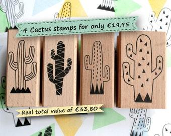 Cactus ink stamp set *Special offer: Set of 4 cactus stamps