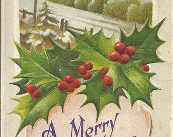 Vintage 1910's Merry Christmas Postcard Church with Holly and Snow