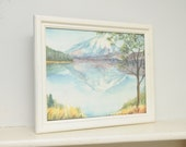 Original Painting SIGNED Watercolor Snowcapped Mountain Lake Reflection