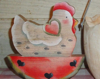 Wooden Hand Painted  Chicken Figurine - Kitchen Decor - Watermelon - Cottage Decor - Country - Wood - Farmhouse Decor - Heart