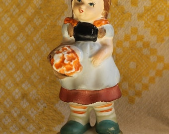 Vintage Hummel Like Girl with Bouquet of Flowers Figurine - Hand Painted- Porcelain Bisque - Japan- Collectibles- Home Decor -Mid Century -