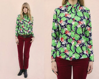 Vtg 70s Psychedelic Lily Pad Print Button Up Shirt S