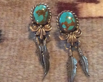 Signed Sterling Silver & Turquoise Vintage Native American Earrings