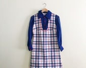 Vintage Mod Plaid Scooter Dress // Red, White & Blue Shift Dress // Retro Dress // Mini Dress - 1960s