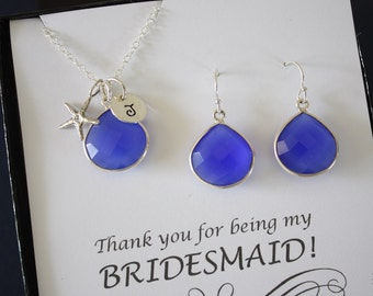 3 Starfish Initial Bridesmaid Necklace and Earring set Blue, Bridesmaid Gift, Dark Blue Gemstone, Sterling Silver, Jewelry, Personalized