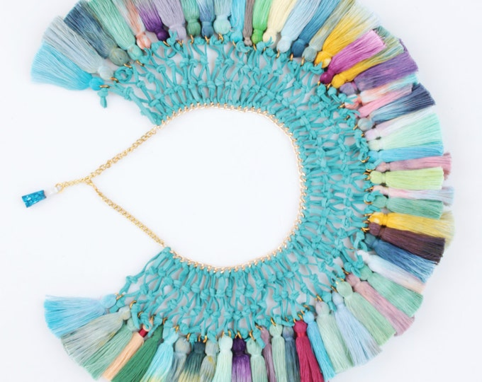 Dyed tassel necklace. Statement necklace. Tassel jewelry. Natural leather necklace. Custome necklace. Hand colored ombre. / PARADISE GARDEN