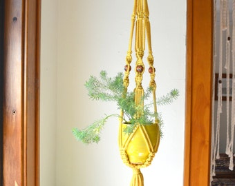 Bright Butterfly Yellow Macramé Hanging Planter Vintage Beads