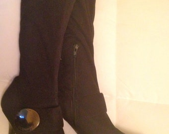 Vintage Shoes BCBGIRLS Black Boots Knee High with zippers Women's Booties Size 7 1/2