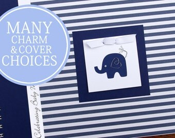 Elephant Baby Shower Guest Book | Personalized Baby Boy Guestbook | Navy Stripes & Elephant Charm
