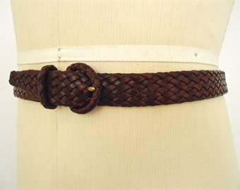 Cole-Haan Braided Brown Leather Belt / size 30, 32, 34