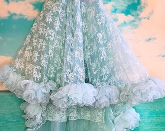 short aqua ruffled lace mermaid wedding dress with train by mermaid miss Kristin