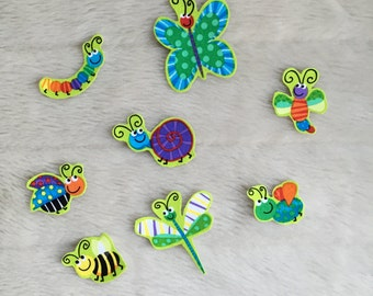 Iron On Insects - Set of 8, Iron on Bug Appliqués, Iron on Butterfly, Snail, Bee, Caterpillar, Dragonfly, Ladybug