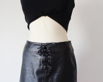 LACE UP Black Genuine LEATHER Mini Skirt, So Marant! Small