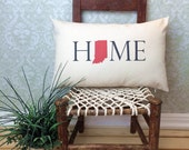Indiana Pillow, Long Pillow, Home Pillow, State Pillow, Home Decor, House Warming Gift, House Warming Pillow, Custom Pillow, Lumbar