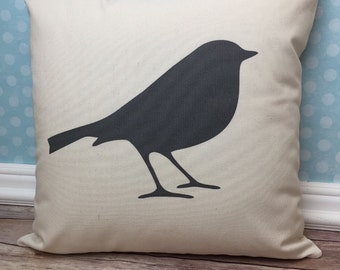 Bird Pillow, Bird Silhouette, Bird Decor, Bird Lover Gift, Bird Theme, Bird Image, Nature Pillow, Nature Theme, Spring Decor