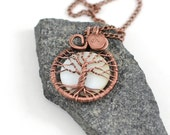 Personalized Tree Of Life Necklace Family Tree Pendant Copper Wire Wrapped Necklace Copper Jewelry Rustic Mothers day gift mommy necklace