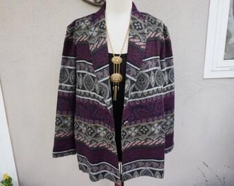 Vintage Boho Blazer, Bohemian Jacket, Bohemian Blazer, Purple Blazer, Grey Blazer, Unique Blazer, Festival Clothing
