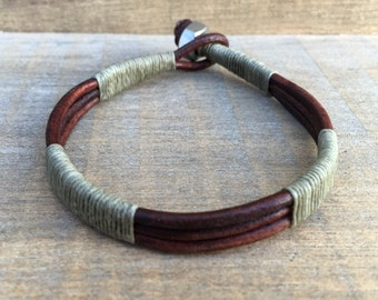Mens Cuff, Guys Jewelry, Mens Bracelet, Army Green Bracelet, Mens Leather Bracelet, Military Gift, Mens Bangle