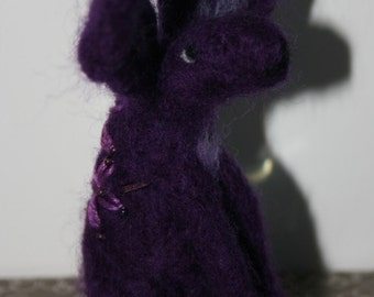 Purple hand felted and embroidered hare