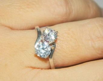 Two Stone Ring, Two Carat Sterling Silver Ring, Cubic Zirconia Ring
