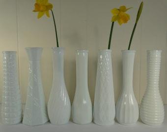 RESERVED FOR DONNA Milk glass vases, classic white, variety set of 12