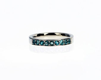 Teal diamond wedding band made from white gold, half eternity ring, blue diamond wedding, unique, teal engagement, diamond eternity, unique