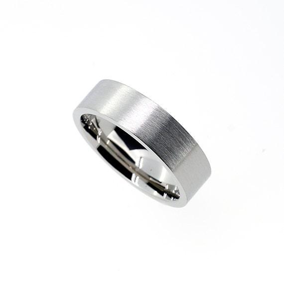 6mm Wide White Gold Wedding Band Modern Matte Finish Ring