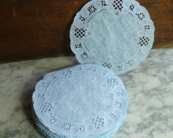 French Lace Paper Doilies, Light Blue Hand Dyed, 5 Inch, Party Supplies, Craft Project, Scrapbook, Doily,  Blue Party Supplies, Garlands