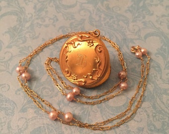 Antique Locket, Floral Repousse Initial H Locket, Pink Pearl Chain, Wedding Locket, Gift for Her