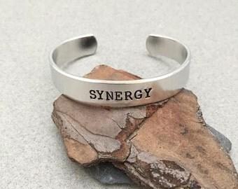 Personalized metal cuff bracelet, Synergy, custom bracelet, aluminum cuff hand stamped bracelet, STRENGTH, metal stamping, custom jewelry