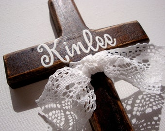 Painted baptism cross baptism gift rustic stained wood childs personalized wall cross with lace ribbon custom