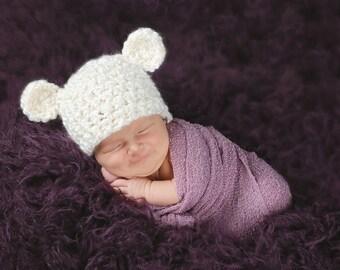 Baby Bear Hat Newborn Baby Hat Baby Girl Hat Baby Boy Hat Polar Bear Baby Hat Cream Baby Hat Baby Animal Hat Newborn Photo Prop Newborn Prop