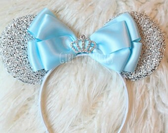 Cinderella Mouse Ears Headband. Blue Bow Mouse Ears. Disney Headband. Disney Princess Headband. Disney Mouse Headband. One Size Fits Most.