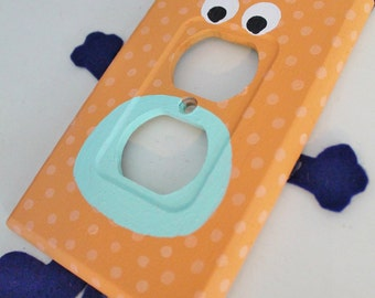 Orange Navy and Mint Monster Hand Painted Wall Light Switch Cover Plate