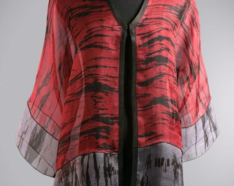 Red Silk Evening Jacket Hand Dyed Shibori.