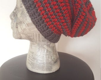 Winter Slouchy Beanie -- Red and Grey Stripes