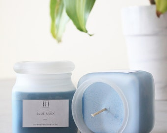 Three Silent Trees | Blue musk soy candle | frosted square jar