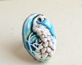 Blue Peacock rings, Handmade Bird jewelry Gift, Oval Porcelain rin, cocoflowershop