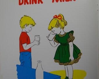 Vintage 1957 School Poster || Health Series, Set 1 - Primary Grades || Drink Milk || Hayes School Publishing Co. || Wilkinsburg, PA || USA