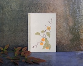 Persimmons Branch. Embroidered A6 Notebook. Nature Notebook. Botanical Notebook. Gardener Gift. Men's Gift Idea. Japanese Mini Journal
