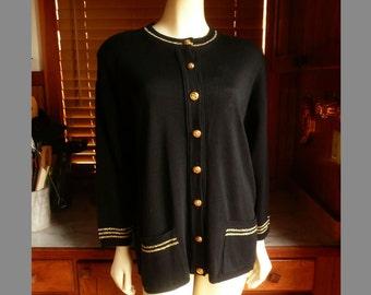 Vintage 80s Preppy Bay Point Treads Black / Gold Varsity Knit Cardigan Sweater M - L
