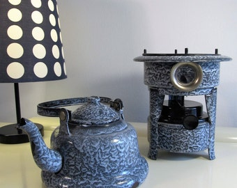 Antique Teapot and Stove Cast Iron Dutch Enamelware Graniteware Grey Speckled Enamel Kerosene Burner Stove, 1 Single Wick Model, Early 1900s