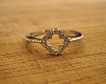 Dainty 925 Sterling Silver and CZ 4 Leaf Clover Ring