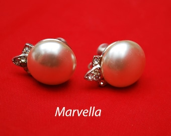 Marvella Earrings Cream White Pearl rhinestone screw back Wedding bride