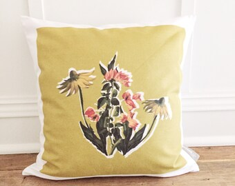 Retro Floral Pillow Cover