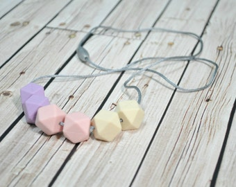 Silicone Teething Necklace - Silicone Nursing Necklace - Nursing Necklace - Pink Purple Pastels