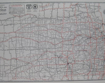 Kansas Map Etsy - Road map of kansas