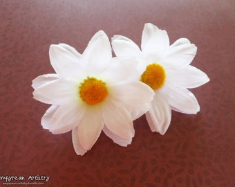 Flower Hair Barrette - Handmade Fabric Flower Hair Accessory - Large Flower Hair Piece - White Daisies - Daisy Accessory