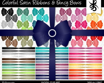 Digital Clipart-Colorful Satin Ribbons and Fancy Bows-Clipart Bows-Ribbons-Digital Bows-Pearls-Blue-Pink-Purple-Instant Download Clip Art