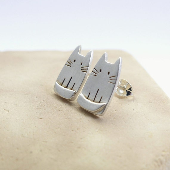 Unique Silver Cat Earrings Animal Pet Jewelry by ...